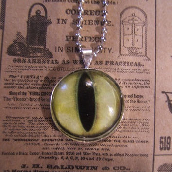 Cat eye large glass evil eyeball 25mm on 20 inch silver ball chain necklace/pendant