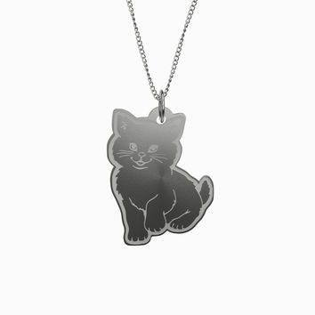 Custom Engraved Sterling Silver Cat Necklace