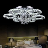 LightInTheBox Modern Led Flush Mount 6 Light Transparent Crystal Stainless Steel 220-240VHome Ceiling Light Fixture Flush Mount, Pendant Light Chandeliers Lighting,Color=White
