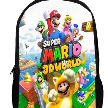 15inch sonic Backpack double layer custom made anime Cartoon School Super Mario Bros boy men bags