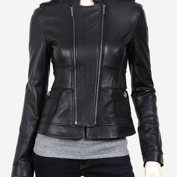 handmade women black Leather Jacket, women black Leather Jacket, black leather jacket women, biker leather jackets