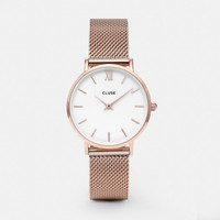 CLUSE Watches | Minuit Mesh Rose Gold White | Simplicity Minimalistic