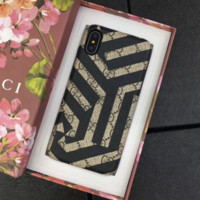 GUCCI New fashion more letter print bee stripe protective cover couple phone case Black