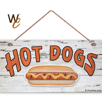 "HOT DOGS Sign, Weathered Wood, Weatherproof, 5"" x 10"" Sign, Retro Summer Party Sign, Gift For Dad, Food Sign, Pot Luck Sign, Made To Order"