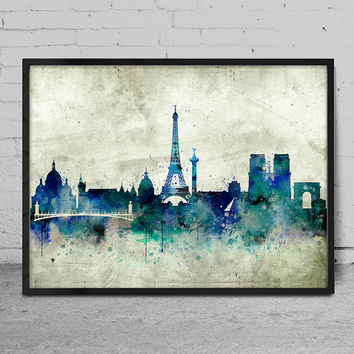 Paris Skyline Art Print, Paris Watercolor Painting, Paris Art Print, Paris Wall Art , France Art Print,  Cities art print, Paris decor -x53