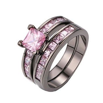 DBMOOD Gorgeous Temperament Rings Set Pink Cubic Zirconia Black Gold Engagement Wedding Rings