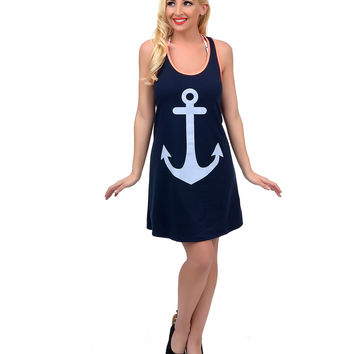 Navy Blue & White Nautical Anchor Racerback Swim Cover Up