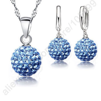 JEXXI Best Hot New Jewelry Sets 925 Sterling Silver Austrian Crystal Pave Disco Ball Lever Back Earring Pendant Necklace Woman