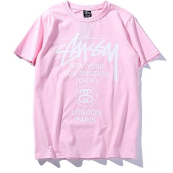 """STUSSY""fashion print round collar couples short sleeve T-shirt"