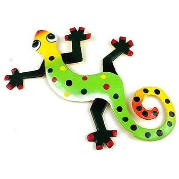 Eight Inch Green Footed Gecko Metal Wall Art