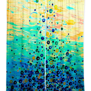 WHAT GOES UP 6, Teal Blue Mint Ombre Art Window Curtains Multiple Size Abstract Painting Decor Bedroom Kitchen Lined Unlined Woven Fabric