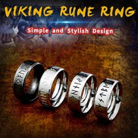 Beier 316L Stainless steel Fashion Style MEN and women Retro Odin Jewelry Viking Female Amulet Vintage Norse Rune words Rings