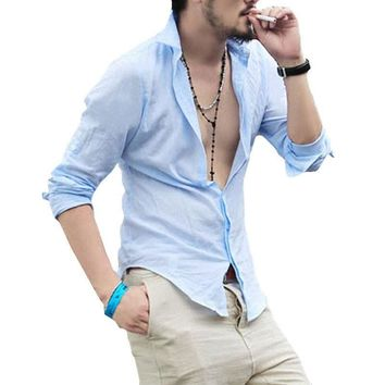Spring Summer Hot Thin Lightweight Hawaiian Shirt Men Cool Solid Cotton Linen Long Sleeve Casual Men Shirts (Asian Size)