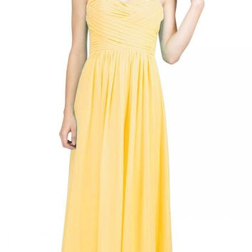 Starbox USA L6414 Yellow Strapless Pleated Bodice Long Bridesmaids Dress A-Line