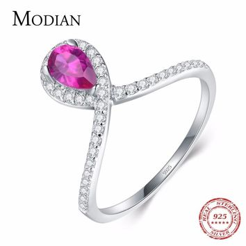 Modian Fashion Real 925 Sterling Silver Water Drop Pear Pink Crystal CZ Ring Classic Engagement Wedding Jewelry For Women Anel