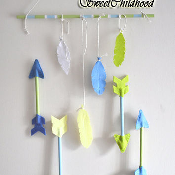 Arrow and Feather mobile, baby mobile purple blue gray violet, boho tribal nursery mobile, wall nursery decor, custom color, modern mobile
