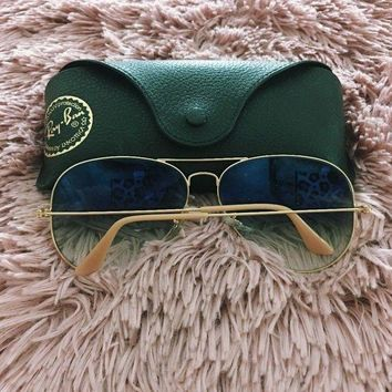 DCK4S2 Rayban Blue Tint Aviator Sunglasses Gold Frame Blue Lenses