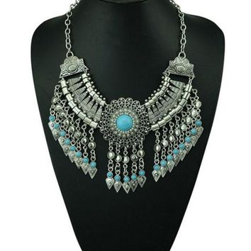 Bohemian Style Silver Chain Long Tassels Statement Necklace Carving Flower Turquoise Turkey Jewelry (size: 143 G Color: Blue)