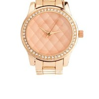 Quilted Rhinestone Rose Gold Watch by Charlotte Russe - Rose Gold