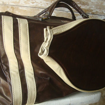 Vintage Wilson Tennis Leather and Vinyl Bag Awesome Piece 1960's-70's