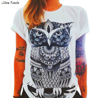 2017 3D Owl Printing T-shirt Women's Tshirt Graphic Tees Women Punk Rock Clothing