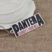 Popular Band Pantera Necklace Cowboys From Hell Letter Logo Metal Pendant Fashion Jewelry For Music Fans