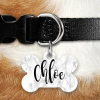 White Marble Pet ID Tag, Lost Dog Tag, Pet Name Tag, Custom Pet Tag, Dog Tag Collar, Circle Bone Personalized Double Sided Stone Look