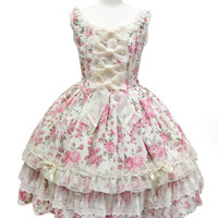 Dramatic Rose Jumperskirt - Ivory [142PJ10-2907-iv] - $302.00 : Angelic Pretty USA