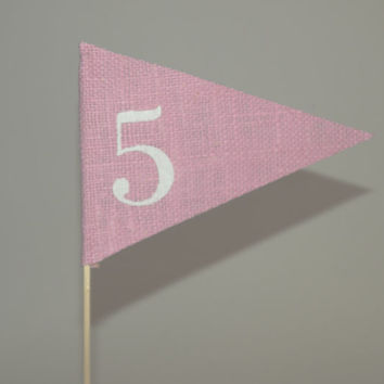 Burlap table numbers pink rustic table numbers weddings party celebration table decoration , burlap  table number flags, burlap decorations