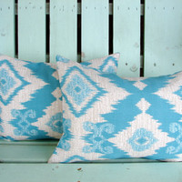 Set of 2 12X16 natural, aqua, blue, turquoise Ikat fabric print, decorative pillow cover-gifts under 40-throw pillow