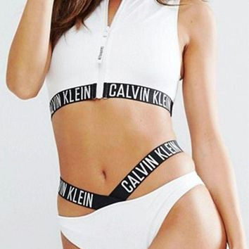 '' Calvin Klein '' Zipper Hollow Bikini Set Swimsuit Swimwear Two-piece