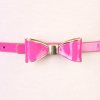 Fuchsia High Polish Metal Trim Bow Faux Leather Belt