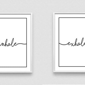Inhale Exhale Print, Wall Prints, Inhale Exhale, Pilates Art, Relaxation Gifts, Yoga Wall Art, Breathe Art