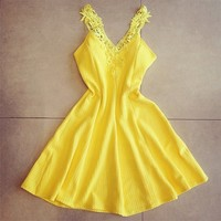 Cute Yellow Sexy Sleeveless Casual Mini Dress