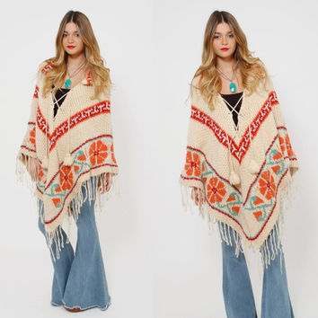 Vintage 70s KNIT Poncho Wool FRINGE Hippie Cape FLORAL Chevron Stripe Boho Poncho Knit Sweater