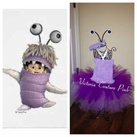 Monsters inc boo inspired tutu dress birthday costume with headband