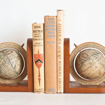 Vintage Globe Bookends, Maps Spinning Old World Globes, Wooden Book Ends