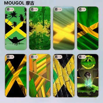 MOUGOL Retro Jamaica National Flag  design transparent clear hard case cover for Apple iPhone 7 7Plus 6S 6 Plus 5 5s SE 5C