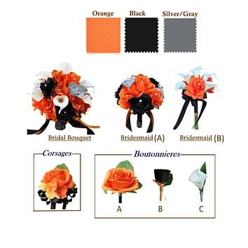 Build your wedding package-Keepsake Artificial rose calla lily Bouquet Corsage Boutonniere Orange Black Gray-Pick style and Ribbon colors