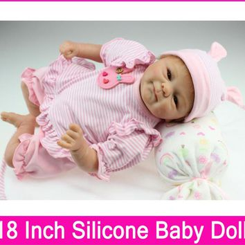 Silicone Baby Dolls 18 Inches baby real touch vinyl Gift