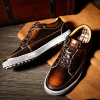 England Style Casual Weathered Low-cut Leather Sneakers = 6450143683
