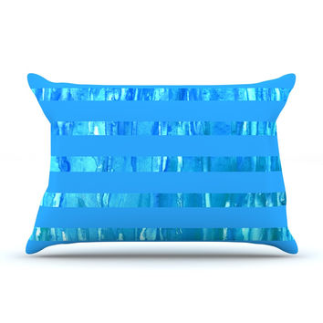 "Rosie Brown ""Wet Wild Stripes"" Aqua Blue Pillow Sham"