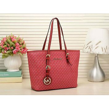 MICHAEL Michael Kors Signature Tote MK Bag Red I-LLBPFSH