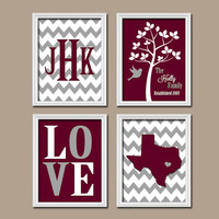 Texas Maroon Gray Custom Family Monogram Initial State LOVE Bird Tree College University Gift Wedding Date Canvas Set of 4 Prints Wall Art