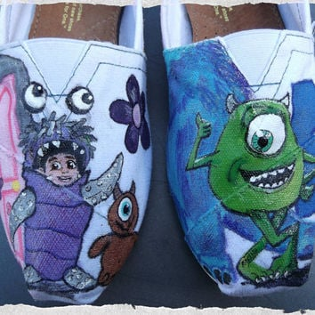 Custom Painted Shoes Monsters Inc Boo Mike Sulley TOMS Vans Converse
