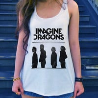 Imagine Dragons Shirt Alternative Rock Shirt Tank-Top White Ladies Size SMALL MEDIUM