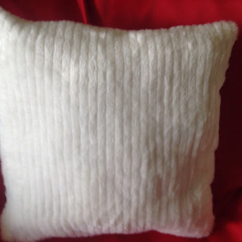 "Two 20""x20"" White Faux Fur Pillow (Free Shipping)"