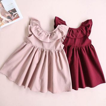 Toddler Girl Tutu Dress Kids Baby Ruffle Princess Party Wedding Pageant Dresses Lovely Children Girls Solid Brief Sundress