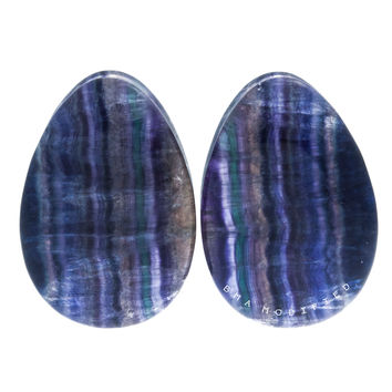 "1 1/4"" (32mm) Rainbow Fluorite Teardrops Stone Plugs #7136"