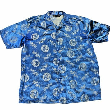 Vintage Chinese Dragon Blue Rayon Button Up Shirt Mens Size XL
